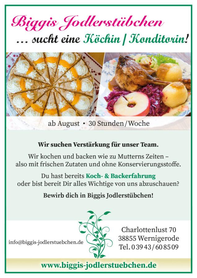 Köchin / Konditorin in Biggis Jodlerstübchen, Wernigerode gesucht