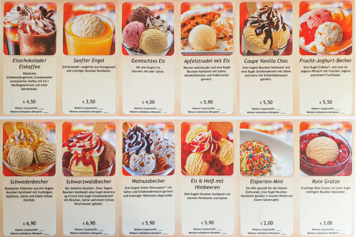 Eiskarte, Biggis Jodlerstübchen in Wernigerode.