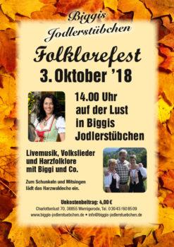 Biggis Jodlerstübchen Folklorefest am 3. Oktober 2018